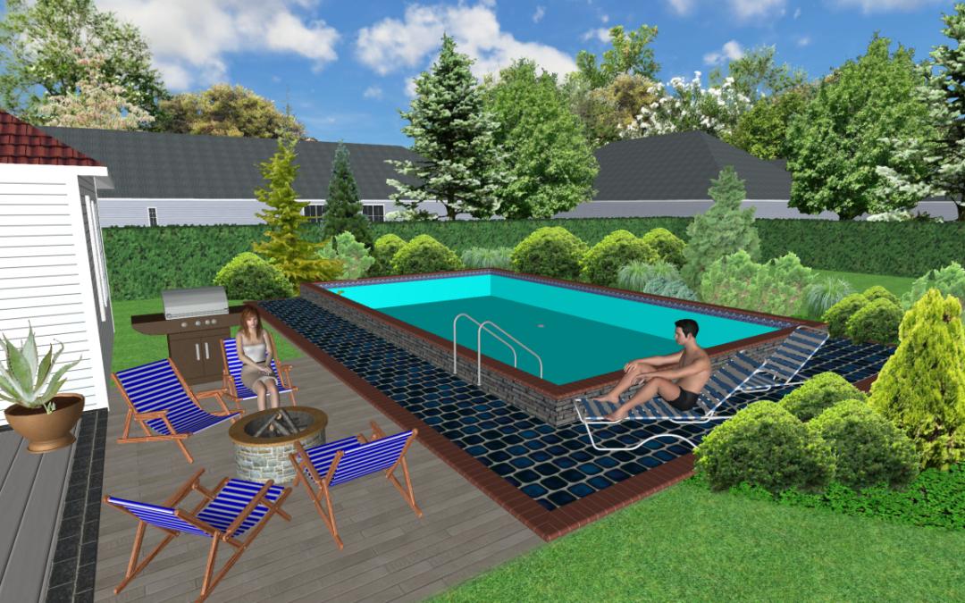 Växter gör poolområdet ombonat och insynsskyddat.